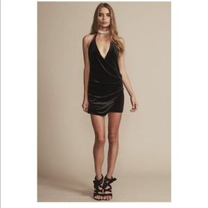 Revolve Lioness Black Velvet Chain Mini Dress